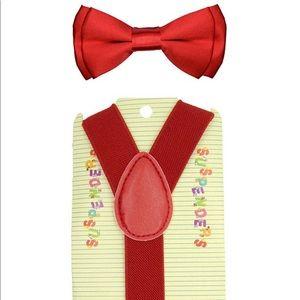 Red baby/toddler Suspender & Bow Tie Set